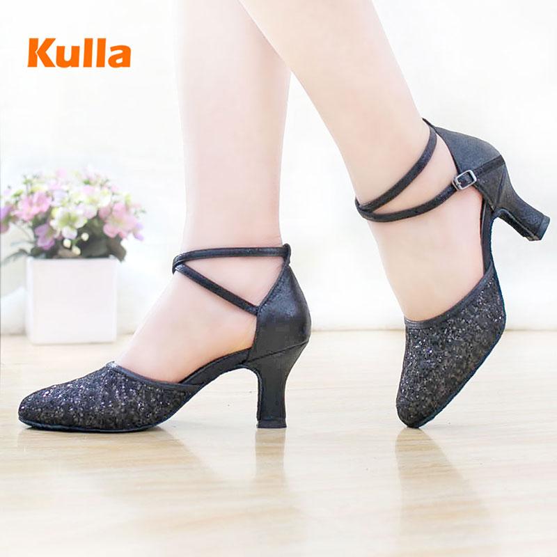 Women High-heel Glitter Lady Latin Dance Shoes Women's Ballroom Tango Salsa Tap Latin Dancing Shoes For Ladies Black Latin Shoes