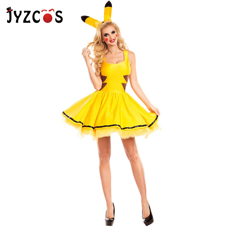 JYZCOS Adult Pikachu Costume Halloween Purim Party Pokemon Mascot Costume for Women Animal Cosplay Costume