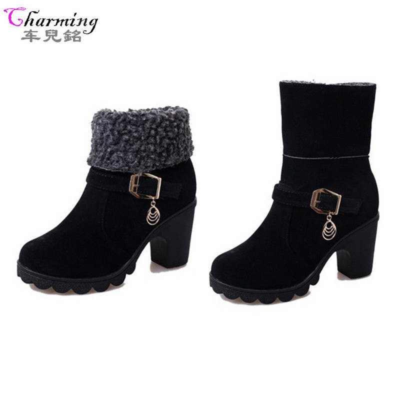 2016 New Winter Women Boots 2ways ankle boots heels comfortable Ladies Fashion snow Boots high heels good quality Free Shipping
