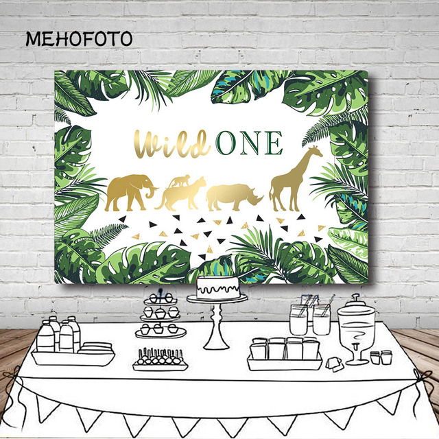 Birthday Party Photography Backgrounds Baby Shower Wild One Jungle Party Animals Monkey Green Leaves Kids Banner Photocall
