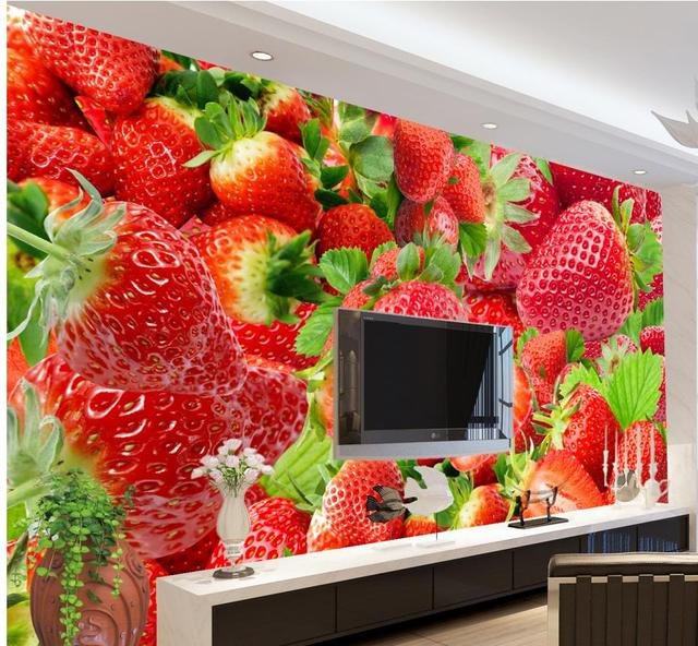 Customized Wallpaper For Walls Strawberry Wallpapers Living Room Home Decoration Custom Photo