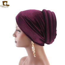 New fashion Women velvet Turban Cancer Chemo Hat Ladies Headscarf Bonnet cap Bandana Hijab Soft New Arrive Keep Warm Hats цена в Москве и Питере