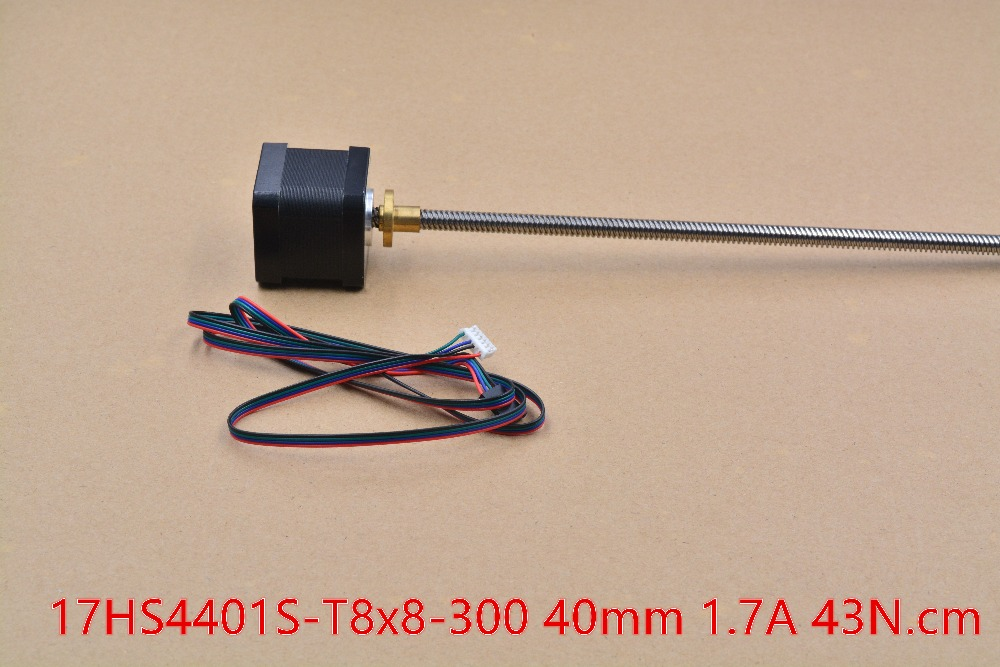 3D Print motor nema17 motor paso a paso con T8 tornillo plomo 8mm 300mm 42 motor 42 bygh corte del molino máquina de grabado CNC 17HS4401S 1 unids