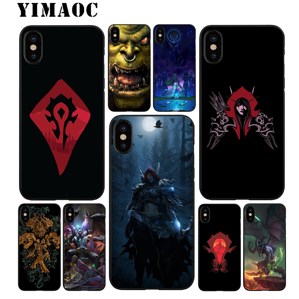 YIMAOC World of Warcraft Soft TPU Black Silicone Case for iPhone X or 10 8 7 6 6S Plus 5 5S SE Xr Xs Max