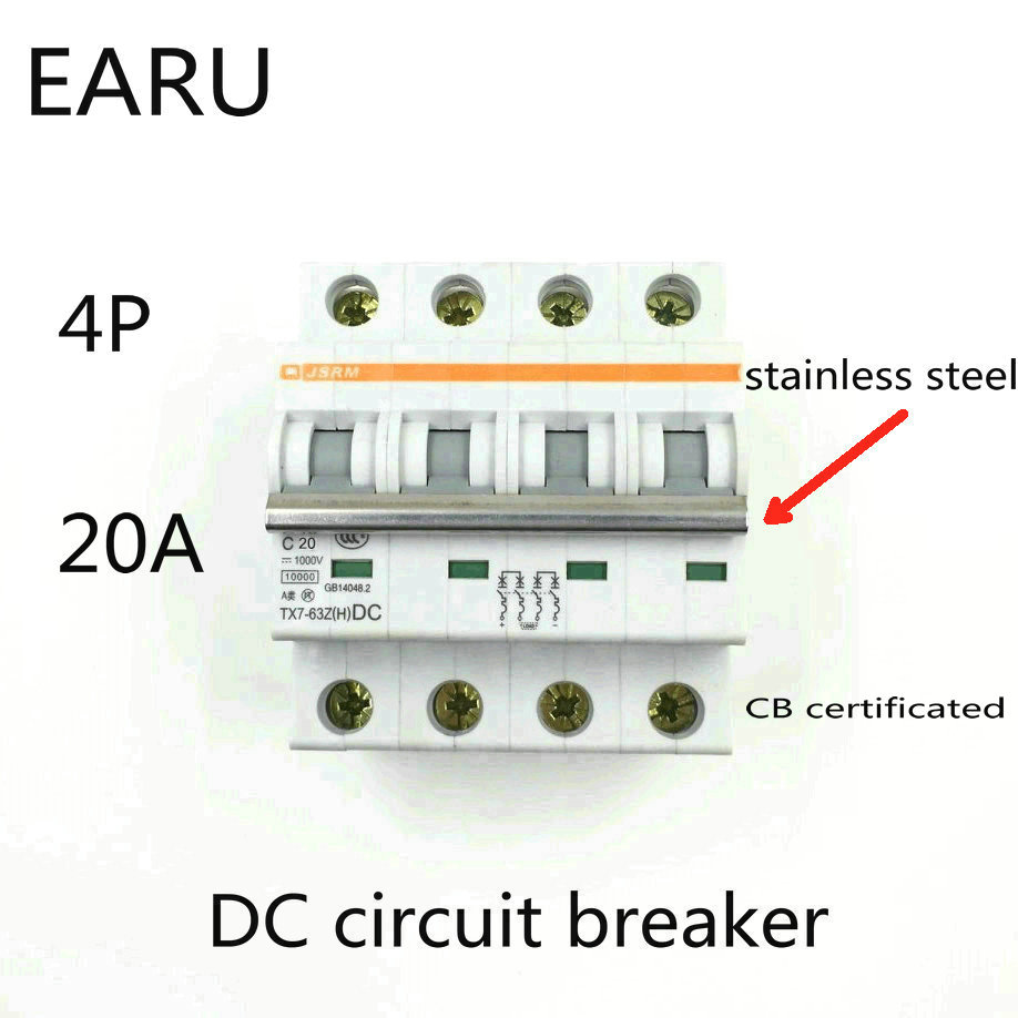 4P 20A DC 1000V DC Circuit Breaker MCB for PV Solar Energy Photovoltaic System Battery C curve CB Certificated Din Rail Mounted