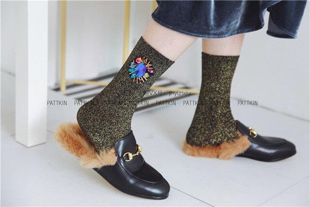 Европейская Мода Женщины Носки Алмазные Короткие Носки Женщина Пользовательские Конфеты Цветные Драгоценные Блестки Ручной Работы Носки