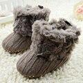 Bebê Meninas de Lã de Tricô Inverno Quente Lã Fur Sapatinho Crib Shoes Bota de Neve