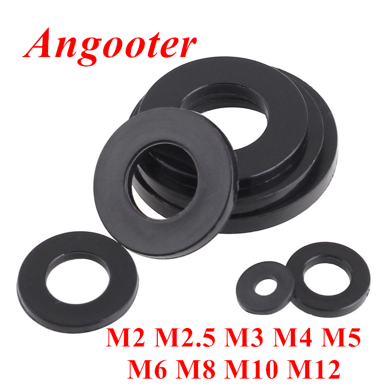 100pcs DIN125 M2 M2.5 M3 M4 M5 M6 M8 Black plastic Nylon Flat washer Plain spacers washers Seals Gasket Ring image