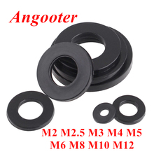 цена на 100pcs DIN125 M2 M2.5 M3 M4 M5 M6 M8 Black plastic Nylon Flat washer Plain spacers washers Seals Gasket Ring