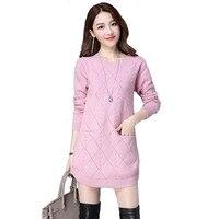 MOSHU Knitted Sweaters Women Dress Winter Sweater Pullovers Female Casual Long Sweater Vestidos
