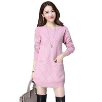 MOSHU Knitted Sweaters Women Dress Winter Sweater Pullovers Female Casual Long Sweater Vestidos