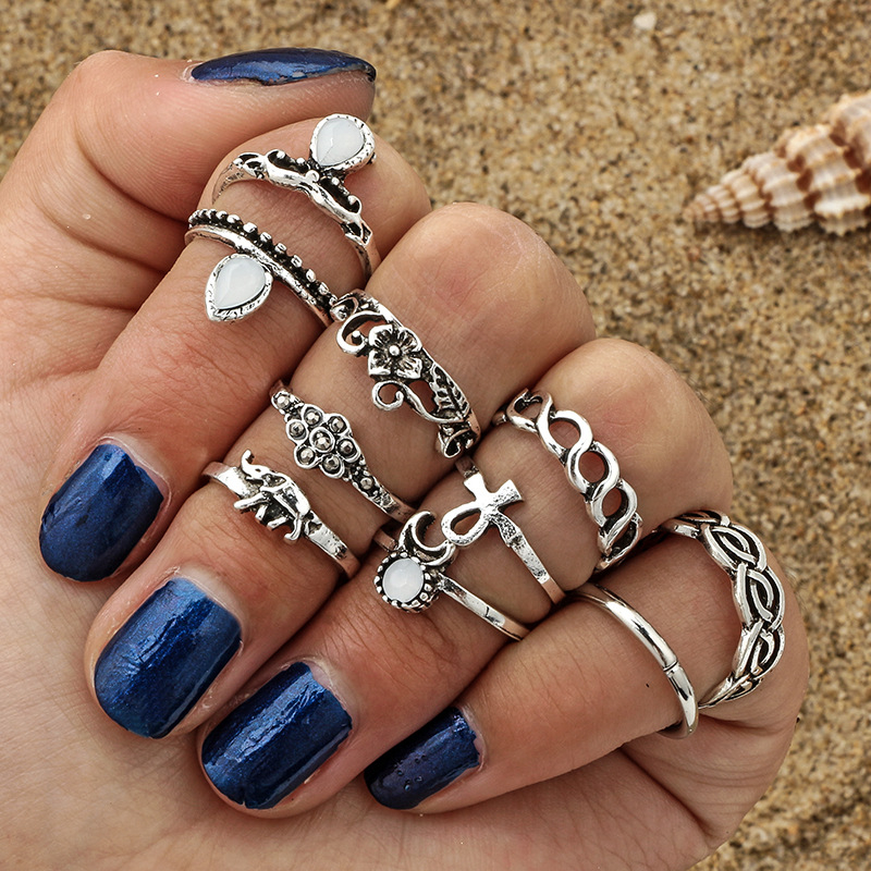 AYAYOO Midi Ring Sets for Women Gold Silver Color Boho Beach Vintage Turkish Elephant Knuckle Statement Rings 10PCS/Set