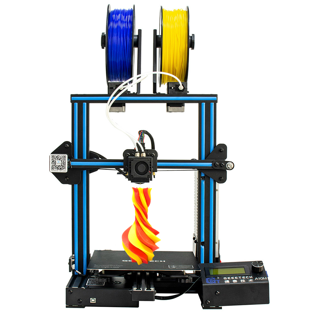 Geeetech 3d impressora a10m 2 em 1 mixcolor função de nivelamento automático 220*220*260 3mm de alumínio viveiro superplate filamento senso ce fdm