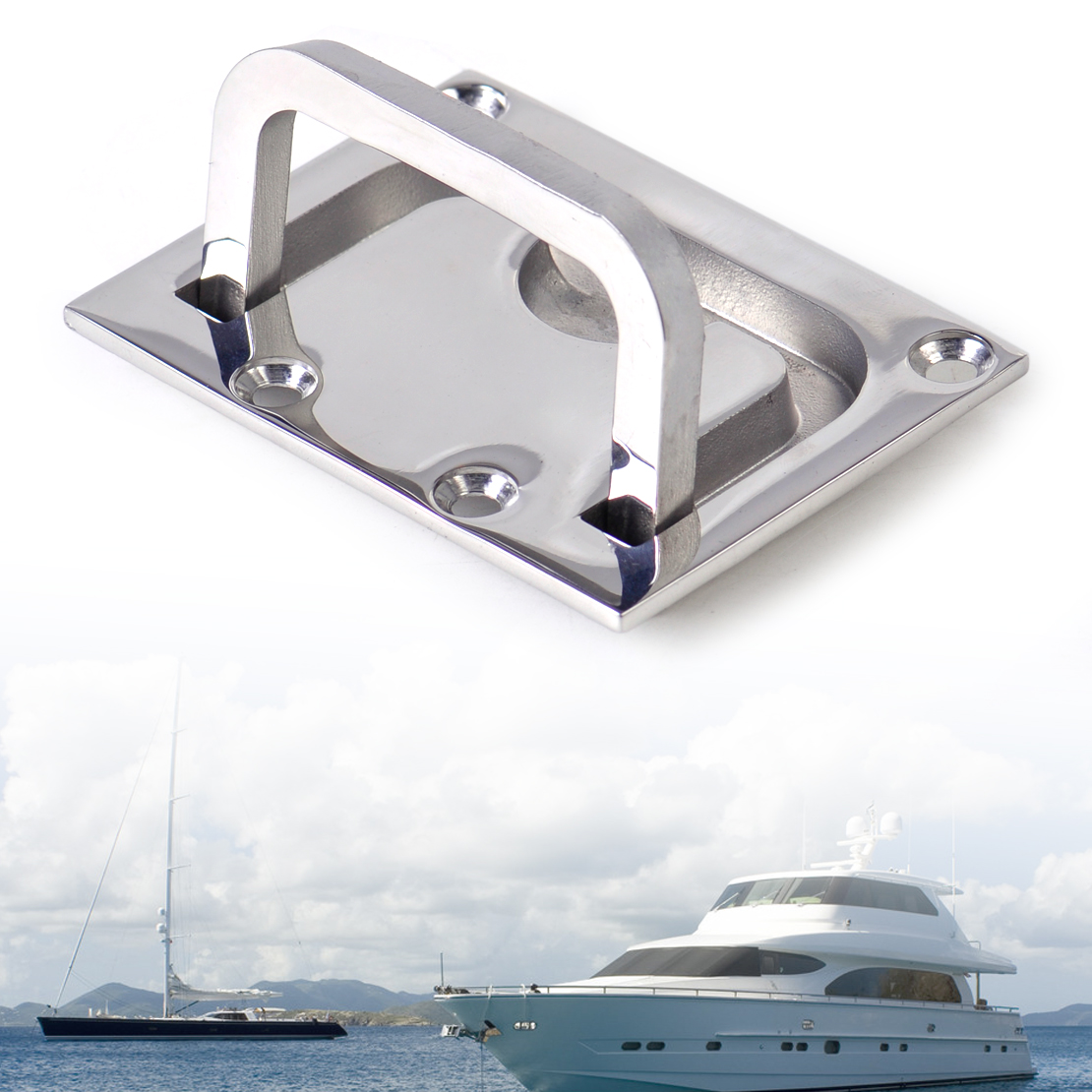 DWCX Car 316 Stainless Steel Boat Marine Flush Hatch Locker Cabinet Lift Pull Handle Boat Hatch Handle 7.5 x 5.5 cm Flush Mount
