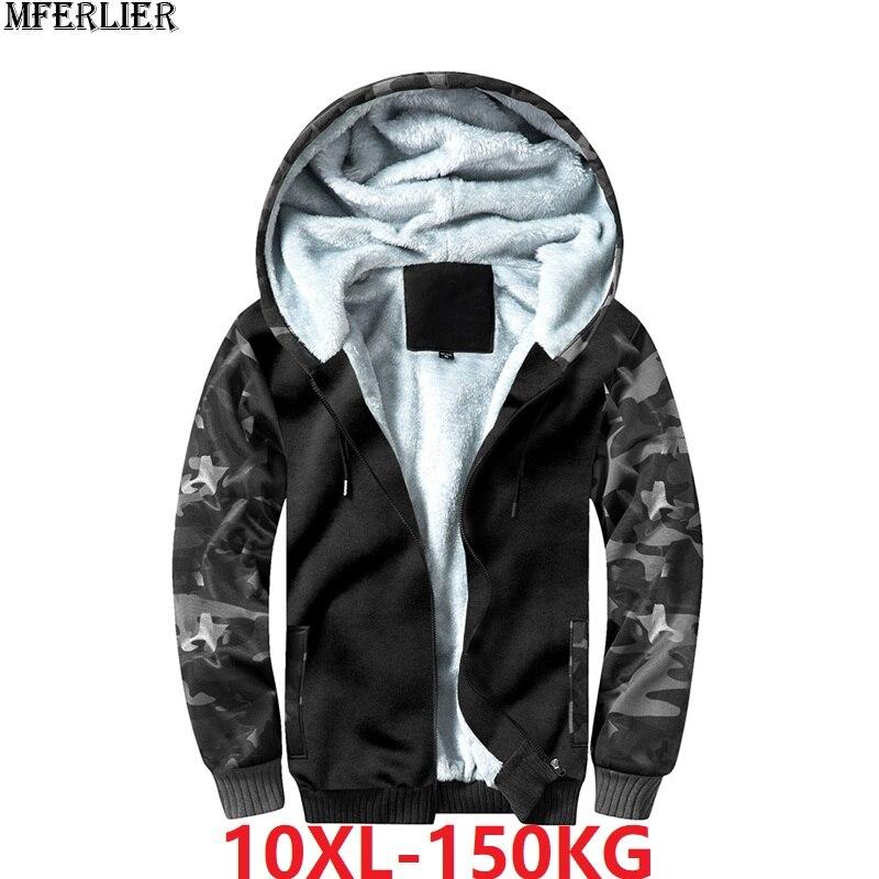 Men Fleece Sweatshirts Camouflage Hoodies Hooded Thick Patchwork Plus Size 9XL 10XL Jackets Winter Warm Armygreen Out Door Coat