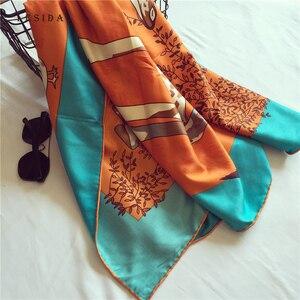 Image 2 - LESIDA Women Twill Satin Silk Scarves Giraffe Bird Print Shawl Lady Large Square Neck Scarves Female Sjaal Hijab 130*130CM 3146