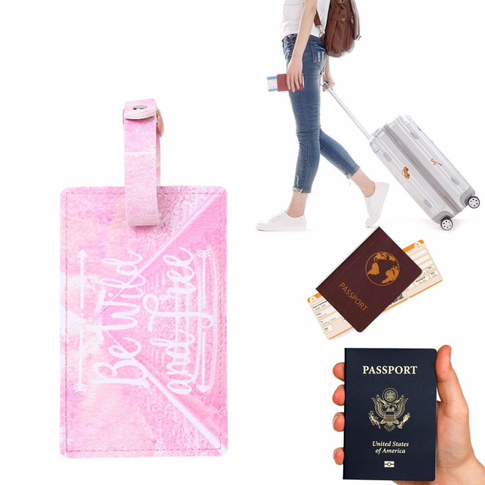 THINKTHENDO New Suitcase Tags Name Address Faux Leather Identifier Label Card Holder Tracking Accessary