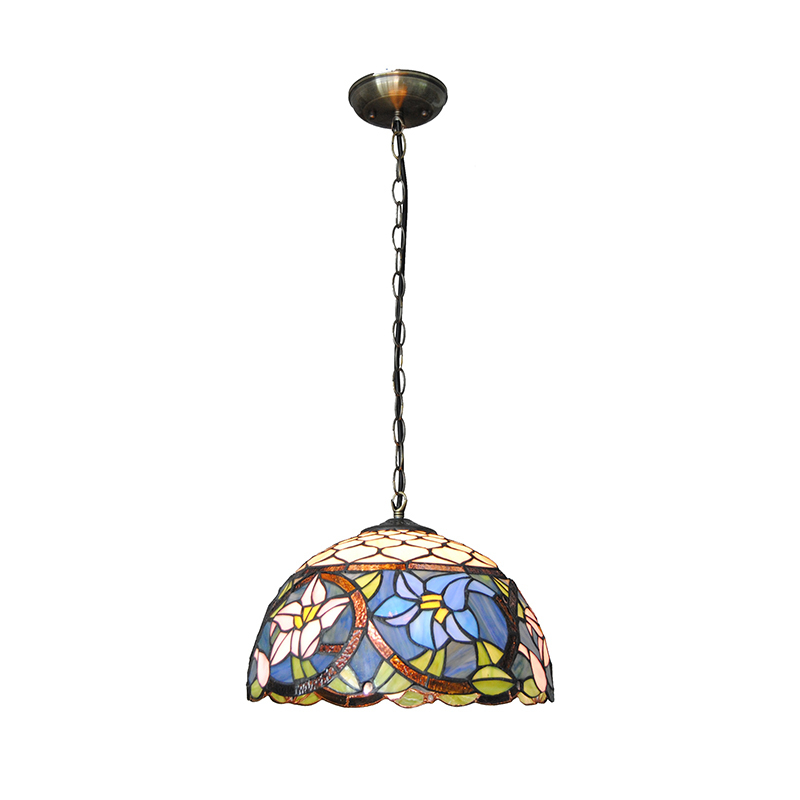 European Vintage Blue Flowers Pattern Pendant Lights 1 Light Retro Tiffany Stained Glass Living Room Bedroom Hanging Lamp PL720 tiffany baroque retro stained glass pendant light restaurant bedroom living room corridor porch lamp