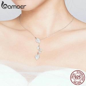 Image 4 - Женское Ожерелье в форме листа bamoer, свадебное ожерелье из серебра 925 пробы с прозрачным кубическим цирконием, BSN075