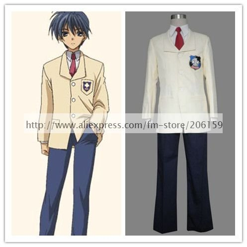 <font><b>Clannad</b></font> High School School Uniform Boys <font><b>Cosplay</b></font> Costume for halloween party suit Freeshipping image