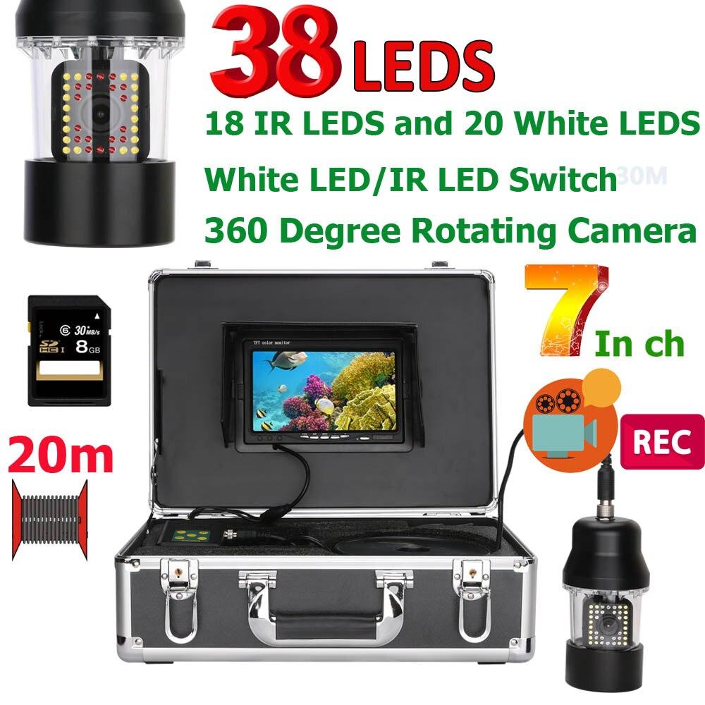 7 pulgadas DVR grabadora de pesca submarina cámara de vídeo buscador de peces IP68 impermeable 38 LEDs giratoria de 360 grados Cámara 50 M 100 M