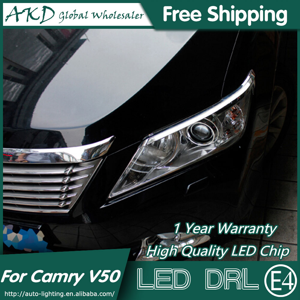 AKD Car Styling LED DRL for Toyota Camry V50 2012-2014 Camry Eye Brow Light LED External Lamp Signal Parking Accessories special car trunk mats for toyota all models corolla camry rav4 auris prius yalis avensis 2014 accessories car styling auto