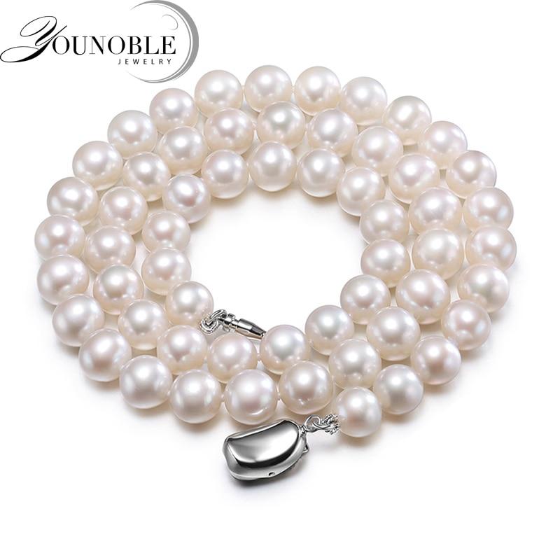 WohltäTig Echt Süßwasser Runde Perle Halskette Für Frauen, Weiß Braut Natürliche Perle Halsketten Frau Jahrestag Geschenk Senility VerzöGern