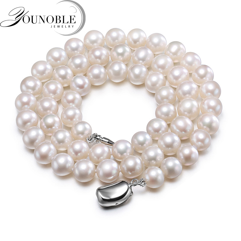 Real freshwater round pearl necklace for women,white bridal natural pearl necklaces wife anniversary gift