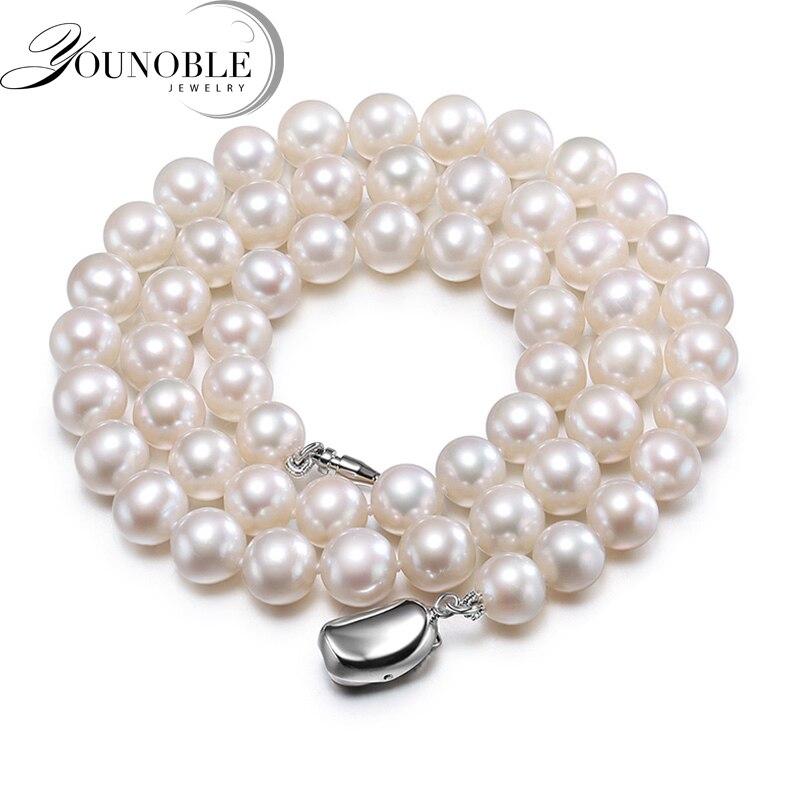 Reale d'acqua dolce rotonda della perla della collana per le donne, bianco da sposa collane di perle naturali moglie regalo di anniversario