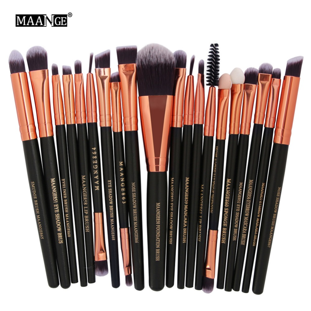MAANGE 20 Pcs Professional Makeup Brushes Set Power Foundation EyeShadow Blush Blending Make Up Beauty Cosmetic Tools Kits Hot