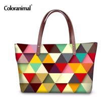 Coloranimal Fashion Women Plaid Pattern Designer Woman Handbag Laptop Totes Large Shoulder Bags Las Purse