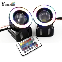 2X LED COB Fog Angel Eyes HeadLamp IR Control Remote RGB Variable Color 3 3 5Inch