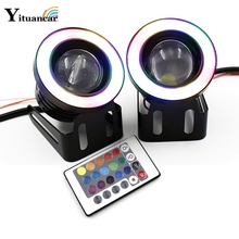 Фотография 2X LED COB Fog Angel Eyes HeadLamp IR Control Remote RGB Variable Color 3/3.5Inch Waterproof Car Styling Daytime Running Lights