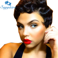 Sapphire Hair Short Human Hair Wigs For Black Women Ocean Wave Lace Front Wig Brazilian Wigs Remy 130% 4 Bob Lace Front Wig