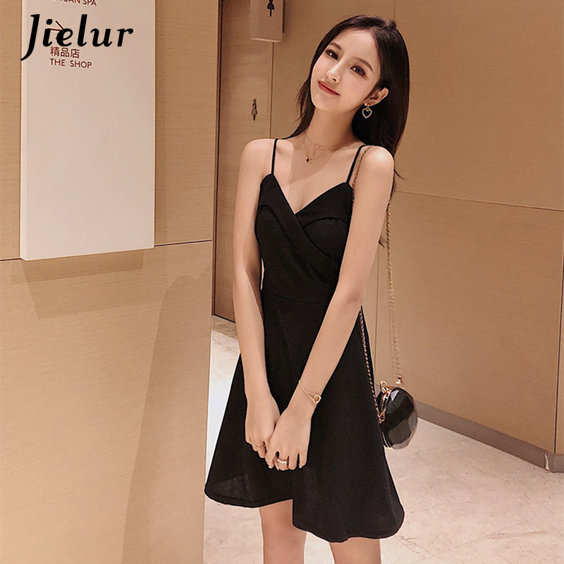 Jielur Elegant Spaghetti Strap Summer Dress 2019 Korean Hipster Black Blue Vestido Mujer Sexy Slim Simple Fashion A Line Dresses
