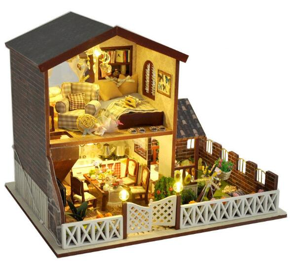 Gifts New Brand DIY Doll Houses Wooden Doll House Unisex dollhouse Kids Toy Furniture Miniature crafts free shipping diy houses love apartment creative cabin model assemble wooden miniature doll house christmas gifts dollhouse furniture toys