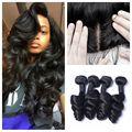 Peruvian Loose Deep Silk Base Frontal With 4 Bundles Virgin Peruvian Human Hair Lace Frontal Closure 13X4