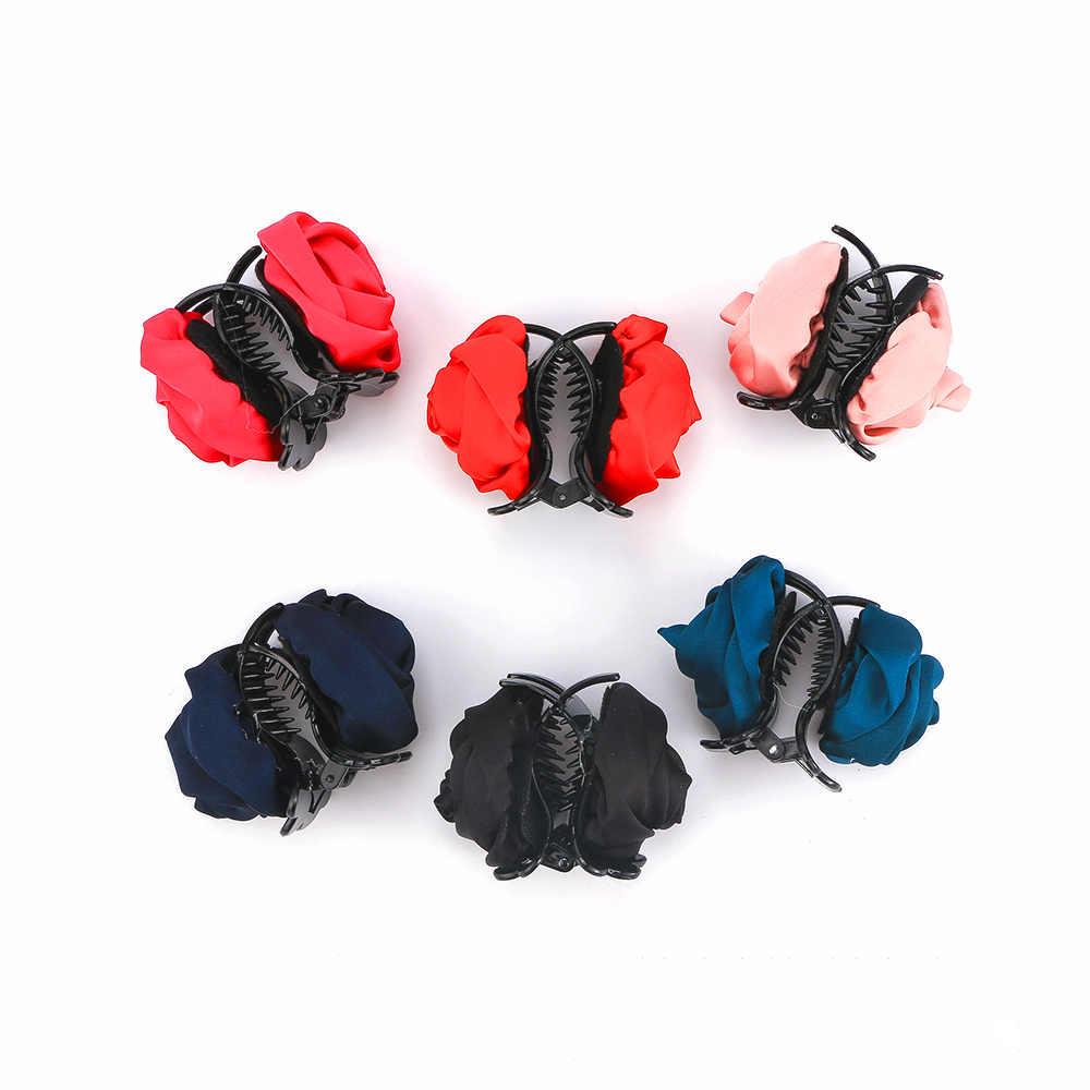 Accessori Per capelli Coreano Donne Elegante Chiffon del Fiore della Rosa Bow Jaw Clip Barrette Dei Capelli Artiglio Regalo Strumento di Styling Dei Capelli