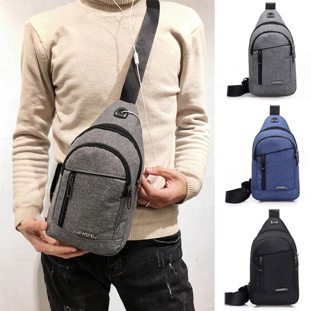Fashion Men's Outdoor Sports Oxford Cloth Crossbody Shoulder Bag Breast Bag Waist Bag Y415