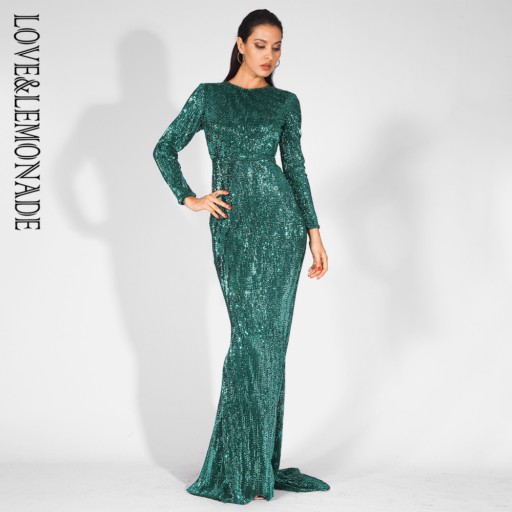 Love&Lemonade Sexy 0-Neck High Waist Elastic Pleated Sequins Fishtail Shape Party Long Dress LM81620 GREEN