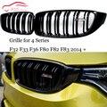 F32 ABS углеродное волокно Передняя ножка решетка двойная планка гриль сетка для BMW 4 серии F32 F33 F36 M3 F80 M4 F82 F83 428i 435i 2014 +