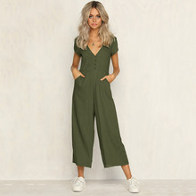 69a6bc33e8d Sexy v neck wide leg jumpsuit for women 2018 Summer fashion short sleeve  khaki rompers womens jumpsuit Causal loose overalls