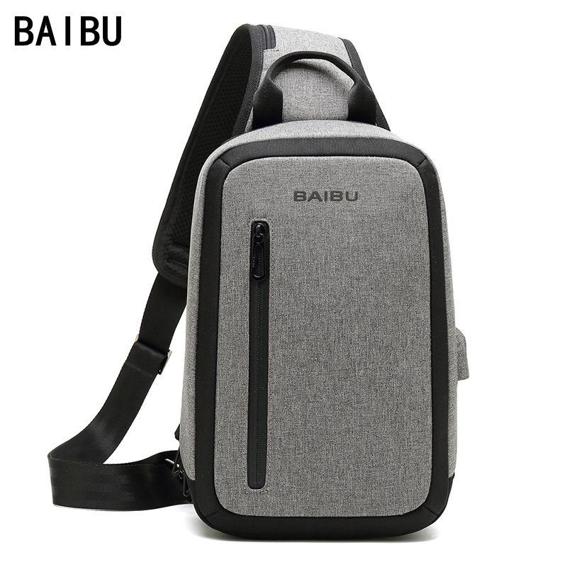BAIBU Men new Anti-theft Large capacity multi-pocket Crossbody Bag Casual Men Chest Bag Waterproof Sling-Bag iPad Messenger Bag anti theft dslr camera sling chest bag red