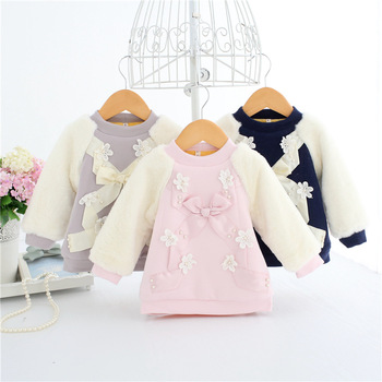 Wholesale 5pcs/lot IDEA FISH Baby Girls Hoodies Clothes Winter Thick Pearls Sweatshirts Toddler Casual Sweater Kids Plus velvet