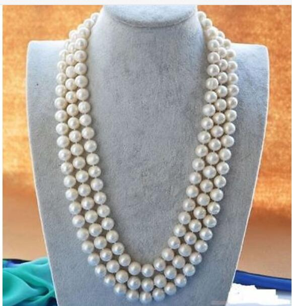 Charming 50 10-9 MM NATURAL White PEARL NECKLACE Yellow CLASPCharming 50 10-9 MM NATURAL White PEARL NECKLACE Yellow CLASP
