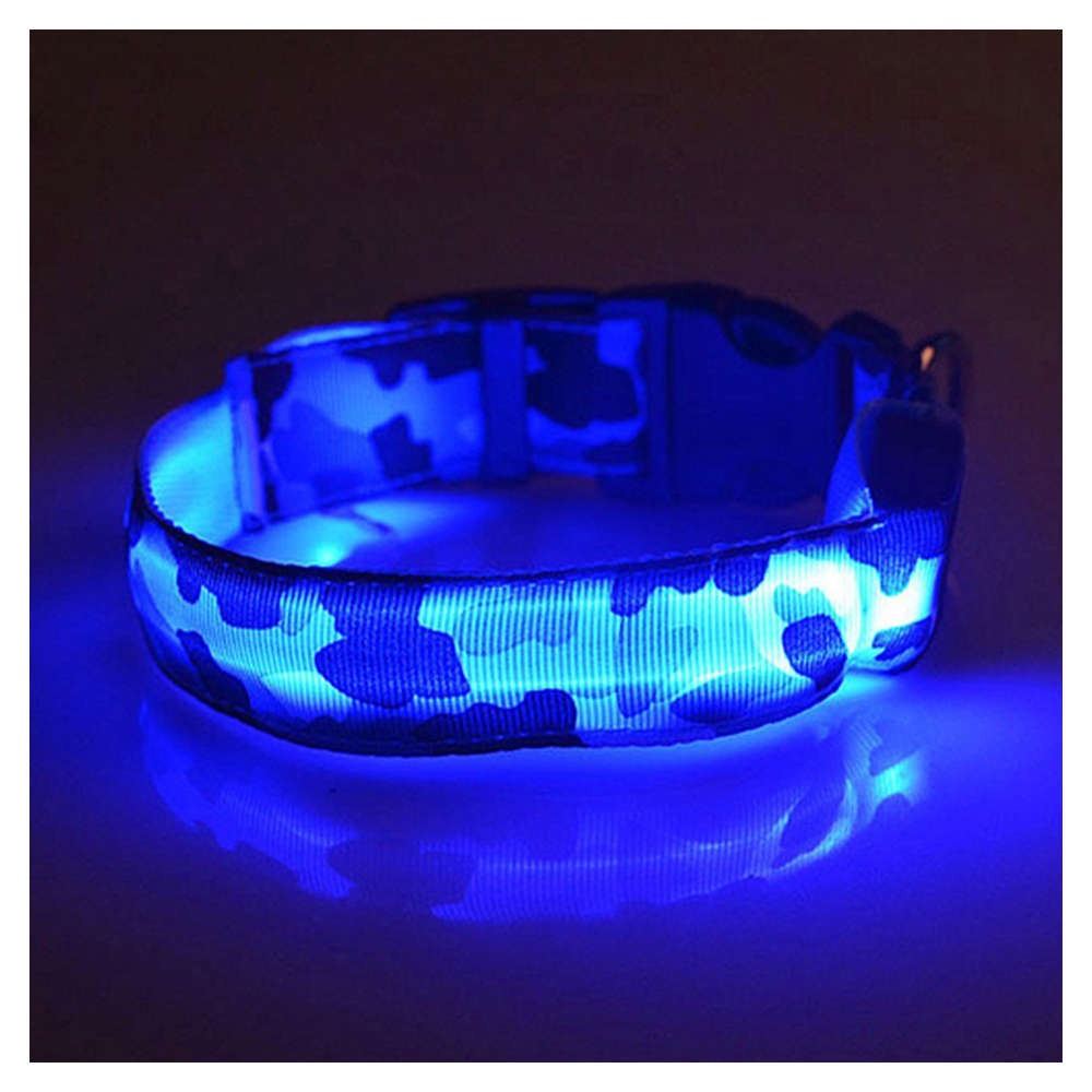 Durable Blue S,M,L, Pets Dog LED Leopard Night Safety Collar Adjustable