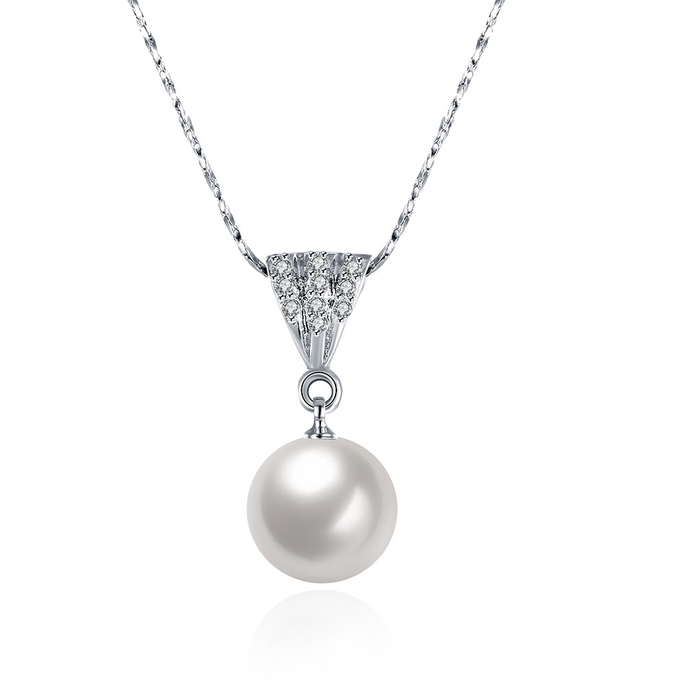 Silver 925 Jewelry Water Drop Real Pearl Necklace Hot Women Chocker Necklaces & Pendants J