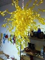 משלוח חינם מקסים צהוב נברשת עתיק זכוכית מנורות