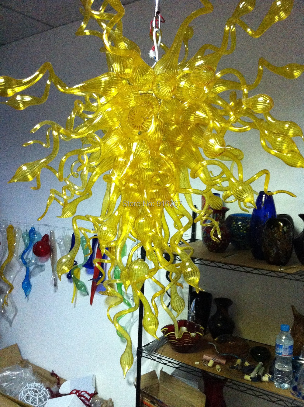 Free Shipping Charming Yellow Chandelier Antique Glass LampsFree Shipping Charming Yellow Chandelier Antique Glass Lamps