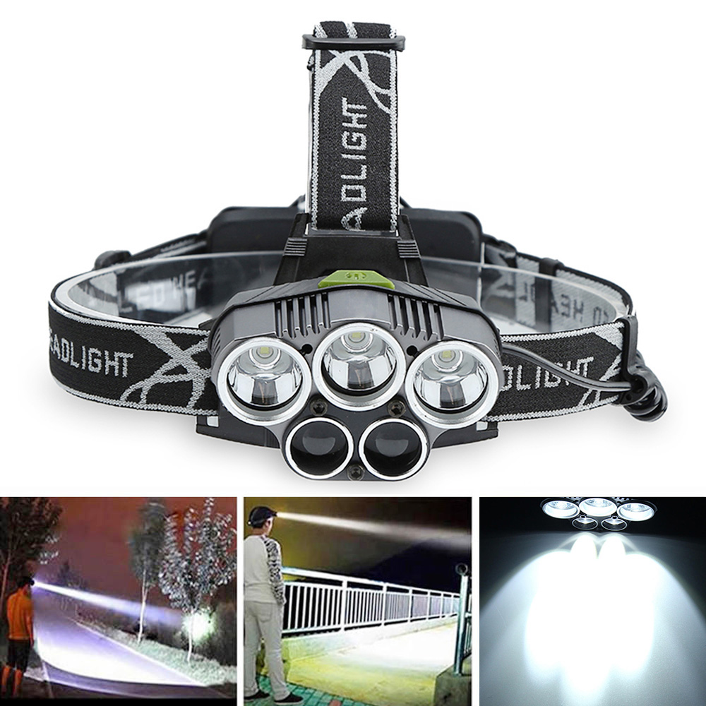YWXLight Waterproof Headlamp 5 Light 5000LM T6 LED Rechargeable USB Headlight 6 Mode Flashlight Torch Lamp Use 18650 Battery